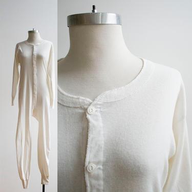 Vintage Long Underwear / Vintage Union Suit / Cotton Knit Long Underwear / Cotton Union Suit / Vintage Pajamas / Vintage White Union Suit by milkandice
