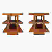 Edward Wormley Pair Of Rare 3 Tier End Tables 1944 (Signed)