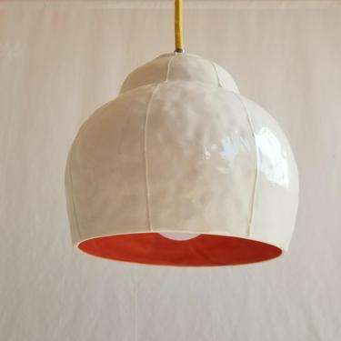 Hanging ceramic pendant light. Unique organic shape by krikriceramics