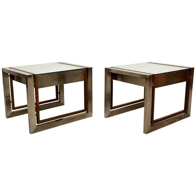 Arturo Pani Mexican Modern Stainless Brass Side Tables 1960s by AMBIANIC