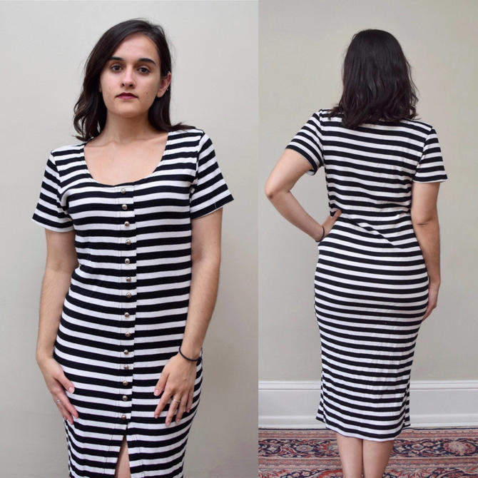 90s Sexy Striped Midi Slit Dress // Cotton Made in USA Wednesday Adams Bodycon // S M by banjocatvintage
