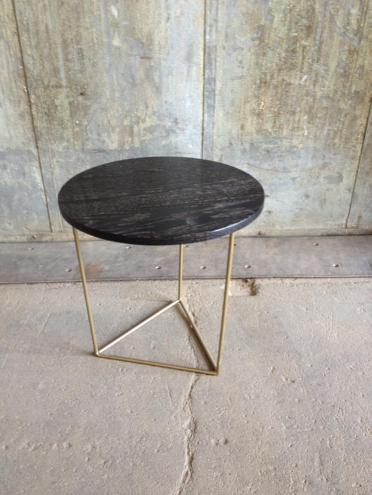 Modern Side Table with Round Ebonized Oak Top and  Brass Triangle Steel Base by PWHFurniture