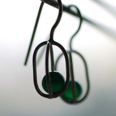 Gravity Collection: Sterling Silver Earrings with Floating Green Onyx - Free Domestic Shipping by feingoldjewelry