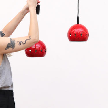 Pair of Red Enameled Globe Lights with Cutouts