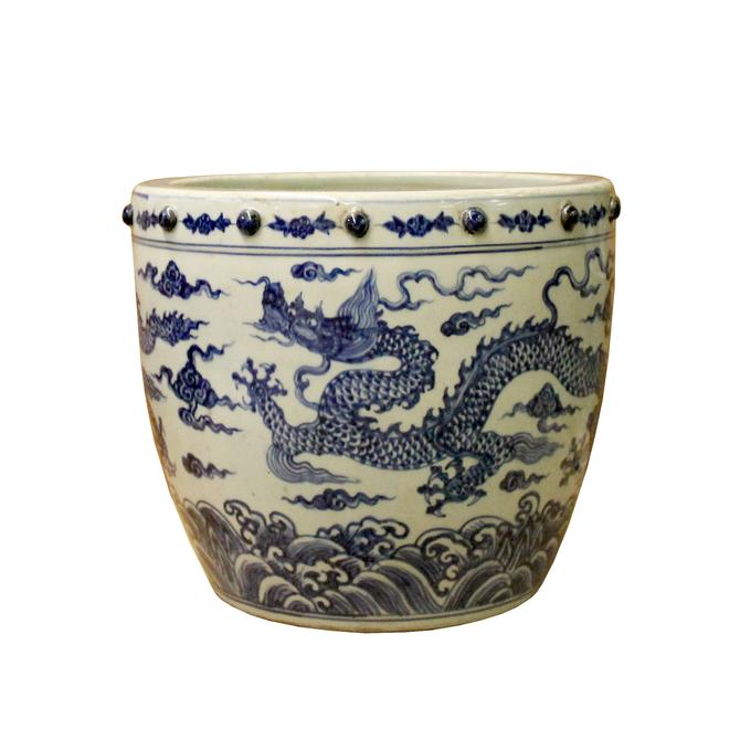 Chinese Off White Blue Glazed Dragon Graphic Porcelain Pot Planter ws1109E by GoldenLotusAntiques