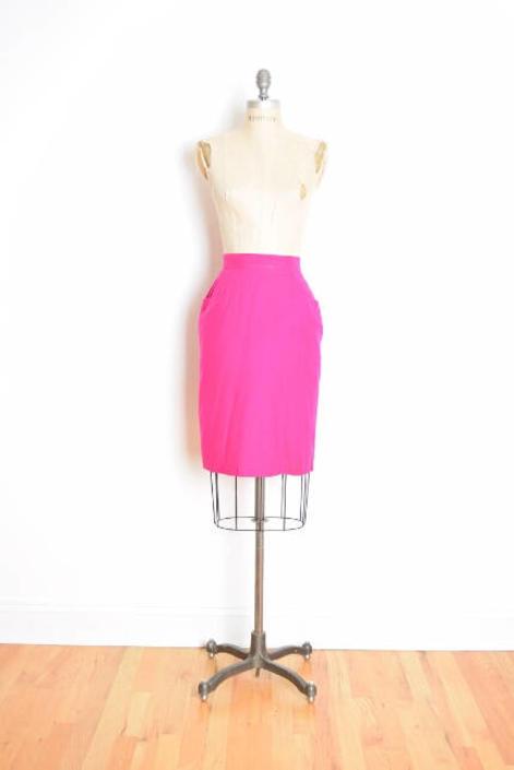 a271c44b98 80s silk skirt, vintage 80s skirt, neon pink skirt, silk pencil skirt,