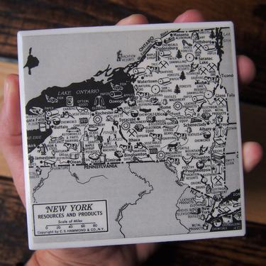 1954 New York State Vintage Economic Map Coaster - Ceramic Tile - Repurposed 1950s Hammond Atlas - Handmade - NY Resources and Products by allmappedout