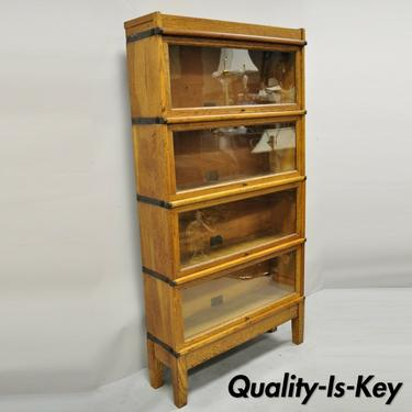 Antique Globe Wernicke Golden Oak 4 Section Stacking Barrister Lawyers Bookcase