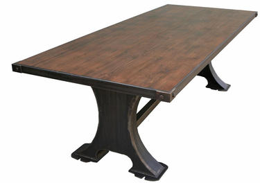ROBERTO Industrial Metal Machine Base Dining Table With Reclaimed - Reclaimed wood coffee table los angeles