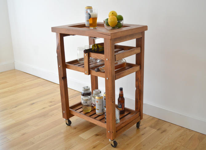 Reclaimed Wood Handcrafted Bar Cart Free Shipping Medium Sized Beer Wine