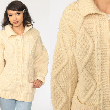 Fisherman Sweater Cardigan 70s Cream WOOL CABLE KNIT Grunge Sweater Jacket Zip Up Boho 1970s Vintage Bohemian Large L by ShopExile