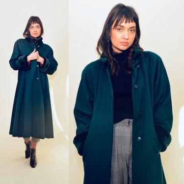 vintage 90s green coat 1990s swingcoat jacket long overcoat outerwear faux fur 80's fit n' flare cozy winter o/s by levintagecult