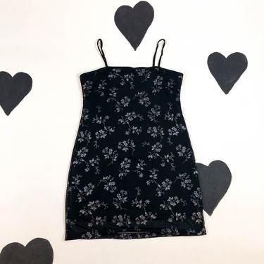 90s y2k Black Glitter Floral Spaghetti Strap Tank Dress / Mesh Overlay / Goth / Cyber / XL / Square Neck / Silver / Clueless / Jawbreaker / by badatpettingcats