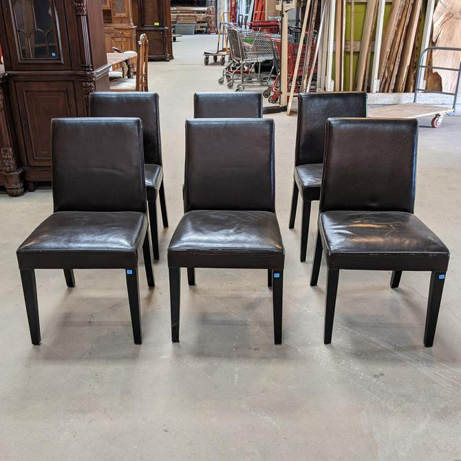 Lowe Onyx Leather Dining Chair Set by Crate and Barrel