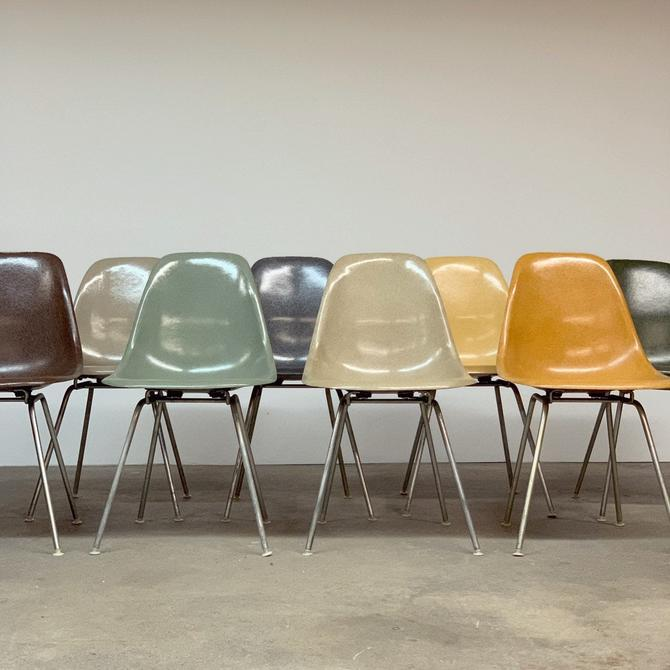 Vintage Set (8) Multi-color Eames Shells By Herman Miller by midcenTree