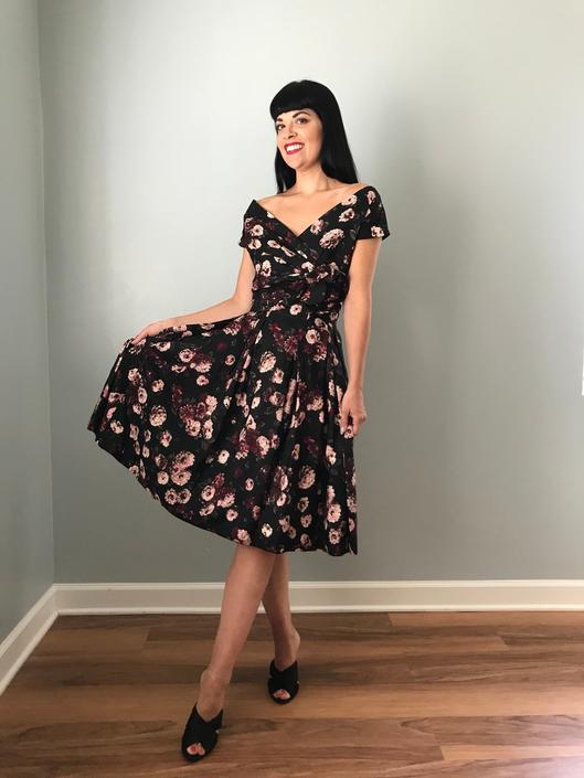 Vintage 50s Silk Floral Fit n Flare Dress by SpeakVintageDC
