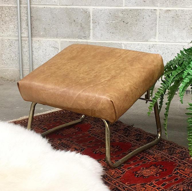 Vintage Footrest Retro 1960s Mid Century Modern + Adjustable Height + Ottoman + Brown Vinyl + Gold Metal Frame + MCM Furniture + Decor by RetrospectVintage215