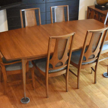 """Newly-restored Broyhill Brasilia II extendable dining set - 102"""" long (table, three leaves, six chairs w/new upholstery) by MidCenturyClever"""