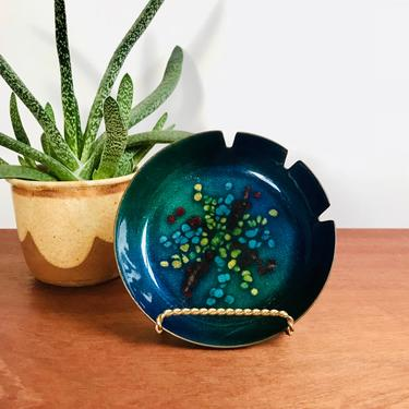 Mid-century enamel ashtray / brilliant blue enameled dish in the style of Anne-Marie Davidson by EarthshipVintage