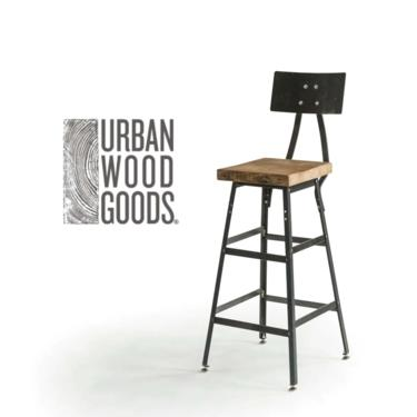 """Reclaimed Wood Stool with steel back in 3 heights (18"""" table height, 25"""" counter height, 30"""" bar height"""").  Choose wood finish and height. by UrbanWoodGoods"""