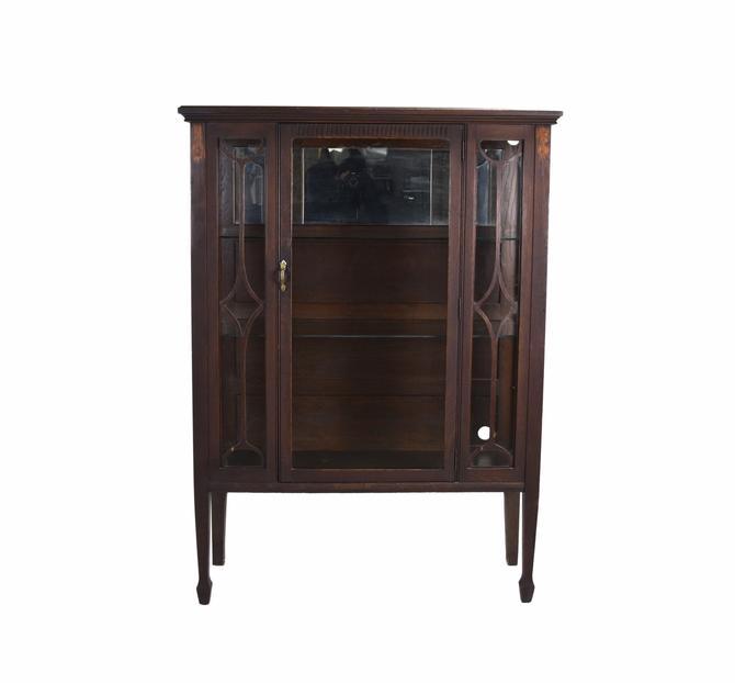 Vintage 1920s Mahogany Display Case China Curio Cabinet Mirrored Back by PrairielandArt