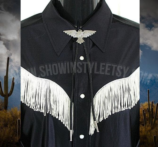 Bolo Tie for Western Shirts, Cowboy Western Tie, String Tie, Silvertone Thunderbird, Braided Black Adjustable Cord with Silver Tips by ShowinStyle