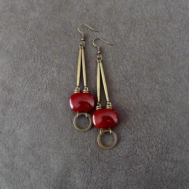 Long bronze dangle earrings, Afrocentric African earrings, geometric earrings, mid century modern earrings, bold orange stone earrings by Afrocasian