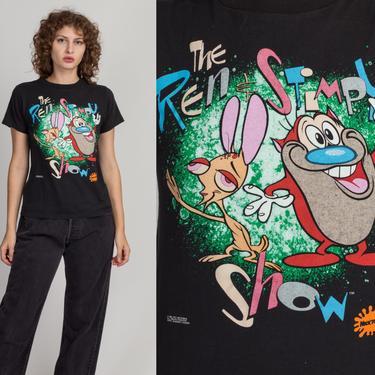 90s Ren & Stimpy T Shirt - Extra Small   Vintage Unisex Black Nickelodeon Cartoon Graphic Tee by FlyingAppleVintage