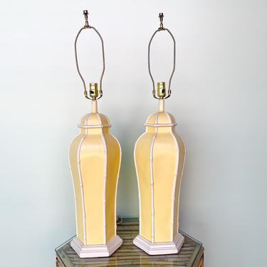 Pair of Faux Bamboo Yellow Lamps