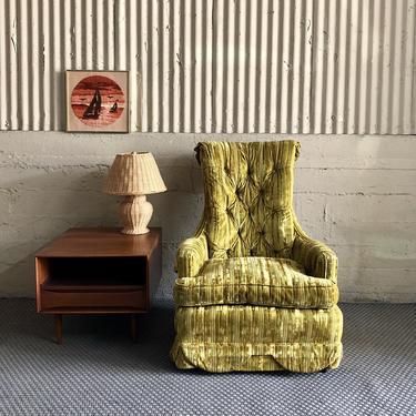Groovy MCM Yellow Velvet Lounge Chair