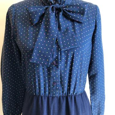 1970's Blouson dress with Navy Skirt and Polka dot top Size Medium 6/8 by BeggarsBanquet
