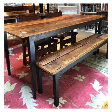 """Rustic reclaimed wood dining table 69.2"""" length / 28.2"""" depth / 29.6"""" height Rustic reclaimed wood bench"""