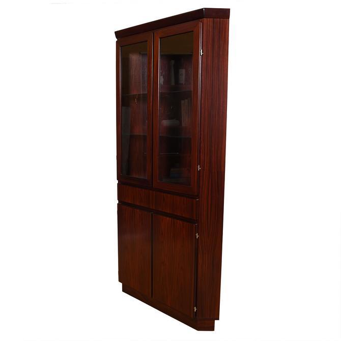 Danish Rosewood Corner Display Cabinet w/ Light