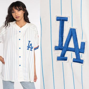 LA Dodgers Shirt Baseball Shirt Button Up Jersey MLB Shirt Sports Graphic Vintage 80s Short Sleeve White Blue Large xl by ShopExile