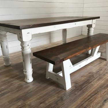 Farmhouse Chunky Leg Dining Table by HickoryandHaze