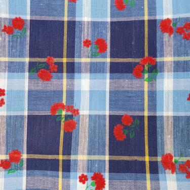 Vintage 1960's Floral Plaid Print Fabric / 70s Red Blue Flocked Fabric by SilhouettetsyVintage