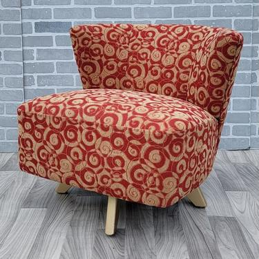 Mid Century Modern Kroehler Swivel Lounge Chair Newly Upholstered in a Modern Patterned Fabric