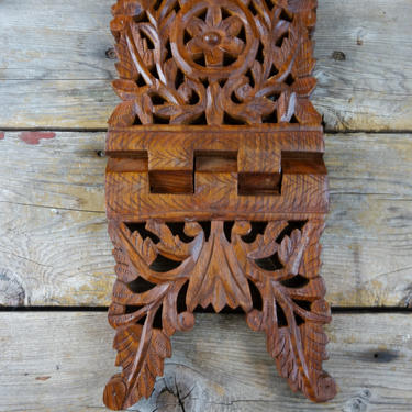Vintage Hand Carved Wood Folding Book Stand, Calendar Day Planner, Cookbook Holder Bible Altar Display, Bohemian Kitchen Gift for Cook India by forestfathers