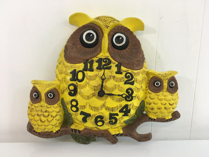 Vintage Owl Wall Clock Owls Family Arnels 1974 1970s Mid-Century Kitchen Retro Kitsch Kitschy Kawaii Yellow Brown Green Handmade Quartz by CheckEngineVintage