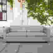 Sleek Reupholstered Grey Sofa