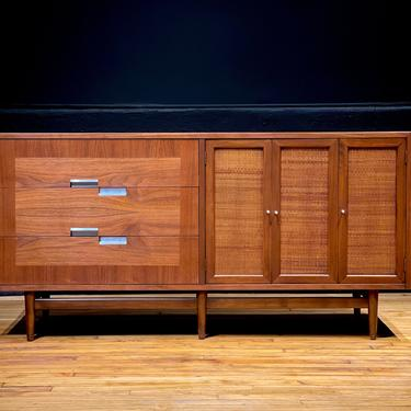 Refinished Mid Century Modern American of Martinsville Six Drawer Walnut and Cane Lowboy Dresser Credenza Sideboard by Merton Gershun by MidMod414