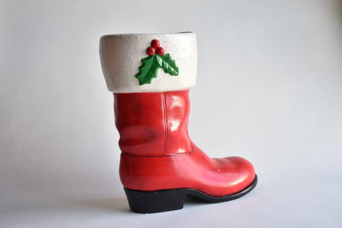 Santa's Boot Kitsch Planter w/ Holly + Berries Decoration | Red Ceramic Vase White Cuff | Atlantic Mold or Holland Mold Type Pottery Planter by LostandFoundHandwrks
