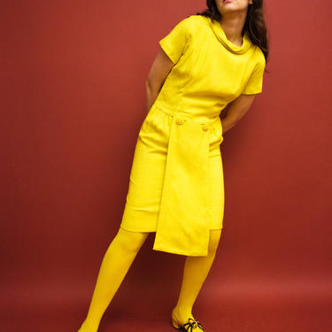 vintage 1960s Suzy Perette yellow wiggle dress by FlowerInTheMirror
