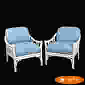 Pair of White McGuire Rattan Lounge Chairs