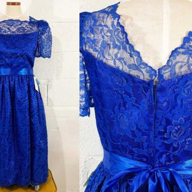 Vintage Royal Blue Dress Lace Satin Midi Formal Wedding Bridesmaid Short Sleeve Ribbon Sheer Prom Maid of Honor New Year's Party Cocktail by CheckEngineVintage