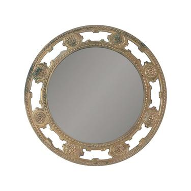 Antique Cast Bronze 20.5 in. Round Wall Mirror