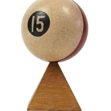 """No. 15 Pool Ball Clay Billiard Ball Size 1 7/8"""" Fifteen XV Stripe Striped by VintageInquisitor"""