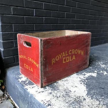 1940s Rare Vintage Royal Crown Cola Red Wooden Crate Soda Mid-Century Wooden Art Deco by BrainWashington