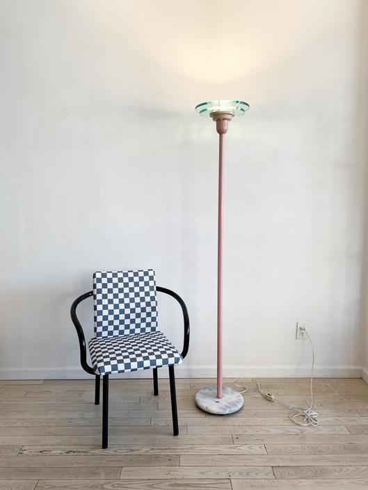 1980s Postmodern Pink Torch Floor Lamp