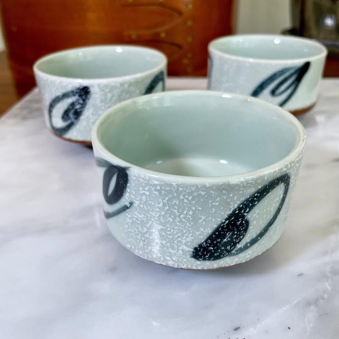 3 Vintage Green Tea Cups, Asian Chinoiserie Japanese Tea Cups - Modern, Ceramic, Abstract, Hand Painted, Snack Bowls, Small Pots by VenerablePastiche
